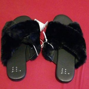 A New Day Faux Fur crossed slide sandals